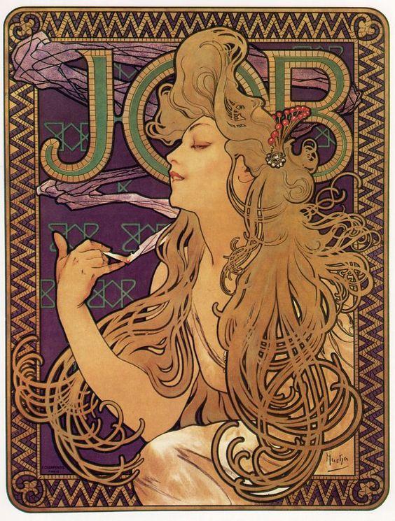Imagen de publicidad de papel para fumar diseñada por Mucha
