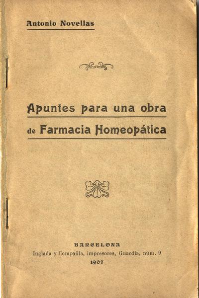 portada de la publicación apuntes para una obra de farmacia homeopática de antonio novellas