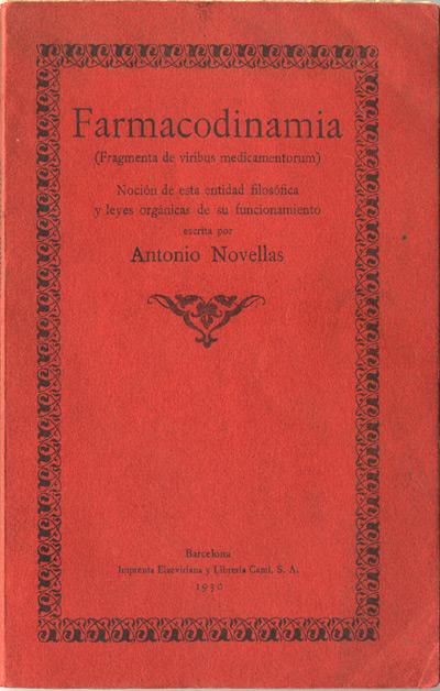portada de la publicación farmacodinamia de antonio novellas