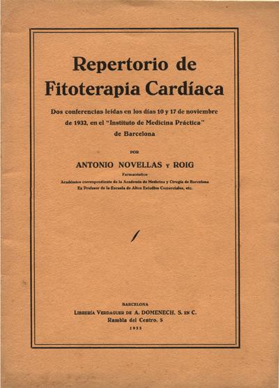 portada de la publicación repertorio de fitoterapia cardíaca de antonio novellas